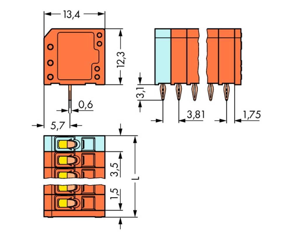 Fjederkraftsklemmeblok WAGO 1.50 mm² Poltal 9 120 stk