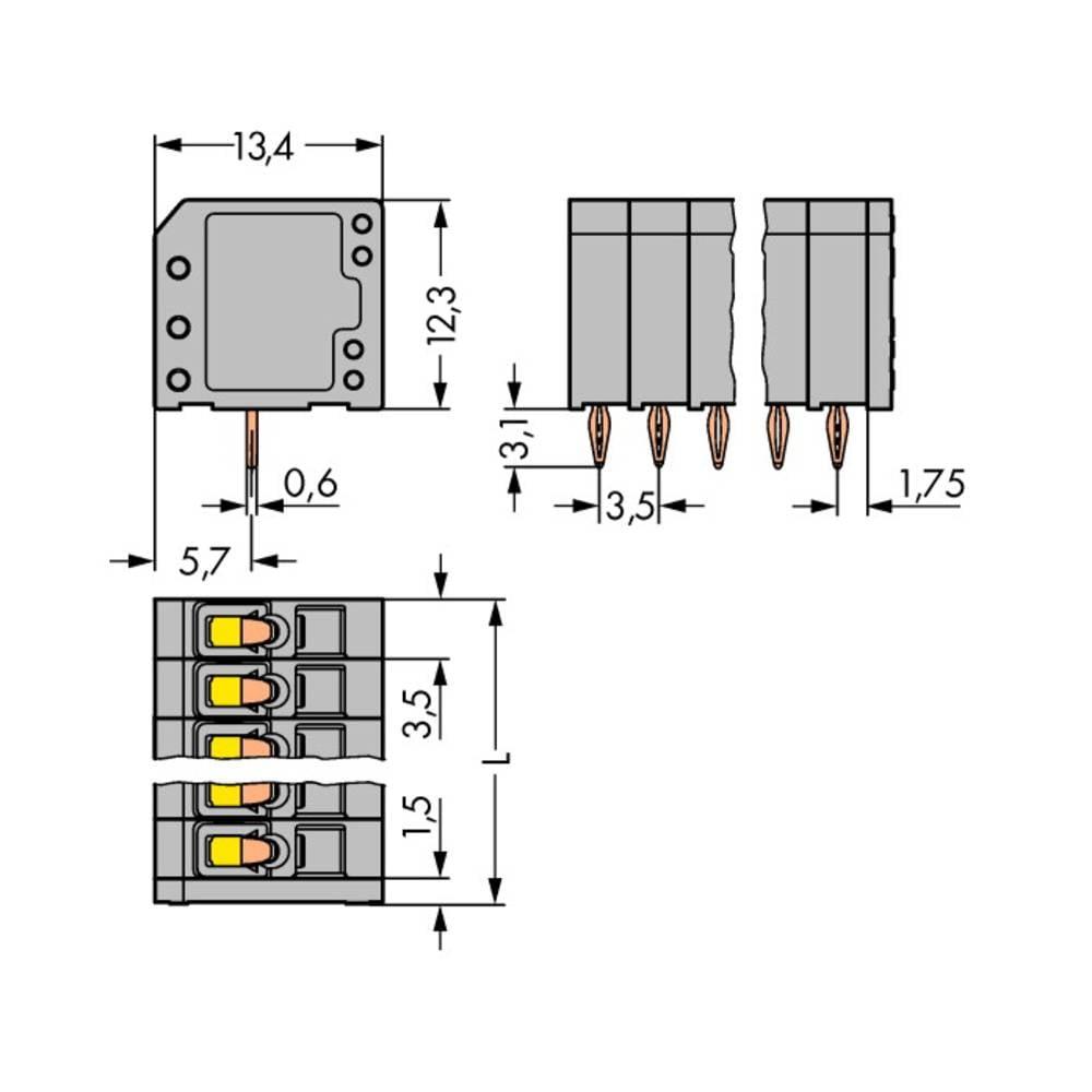 Fjederkraftsklemmeblok WAGO 1.50 mm² Poltal 4 Grå 300 stk