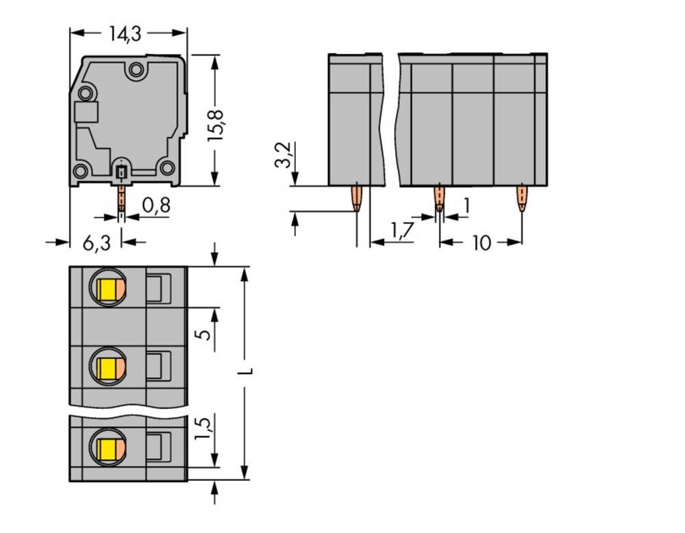 Fjederkraftsklemmeblok WAGO 2.50 mm² Poltal 9 Grå 100 stk