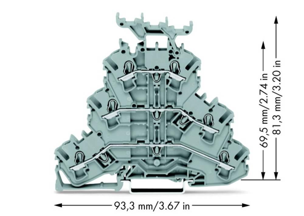 Trippel-gennemgangsklemme 5.20 mm Trækfjeder Belægning: L, L, L Grå WAGO 2002-3231 50 stk