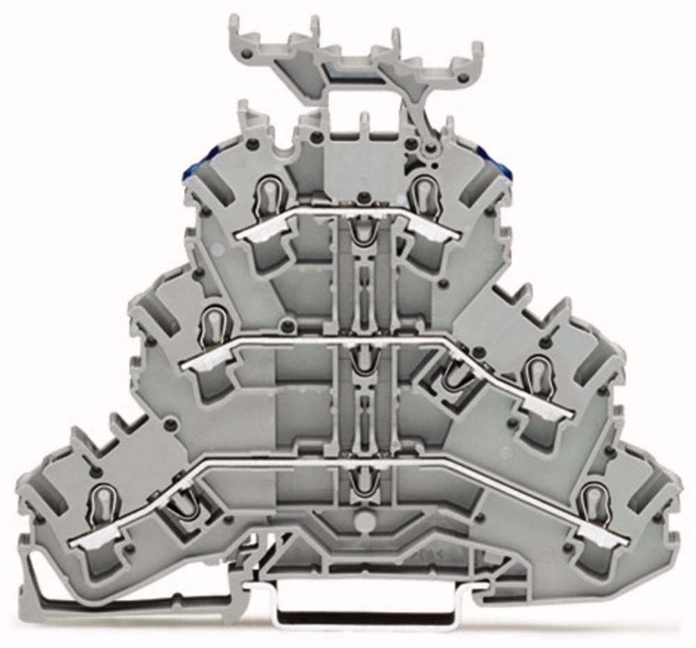 Trippel-gennemgangsklemme 5.20 mm Trækfjeder Belægning: L, L, N Grå WAGO 2002-3233 50 stk