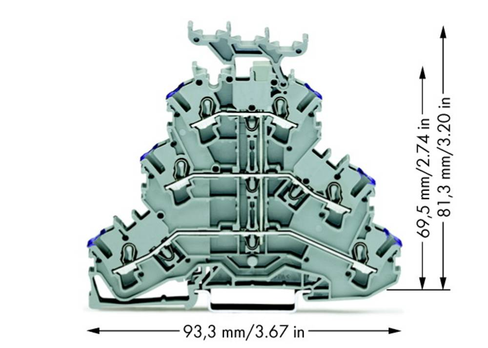 Trippel-gennemgangsklemme 5.20 mm Trækfjeder Belægning: L Grå WAGO 2002-3238 50 stk