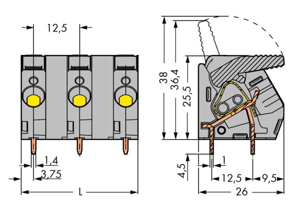 Fjederkraftsklemmeblok WAGO 6.00 mm² Poltal 6 Grå 15 stk