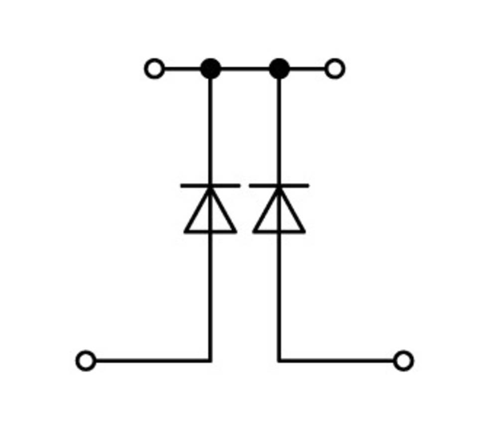 Dobbeltlags diodeklemme 5 mm Trækfjeder Belægning: L Grå WAGO 870-541/281-489 50 stk