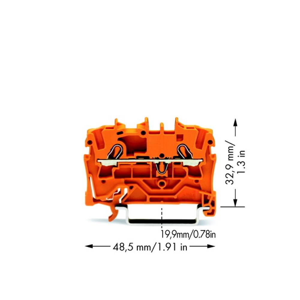 Gennemgangsklemme 5.20 mm Trækfjeder Orange WAGO 2002-1202 100 stk