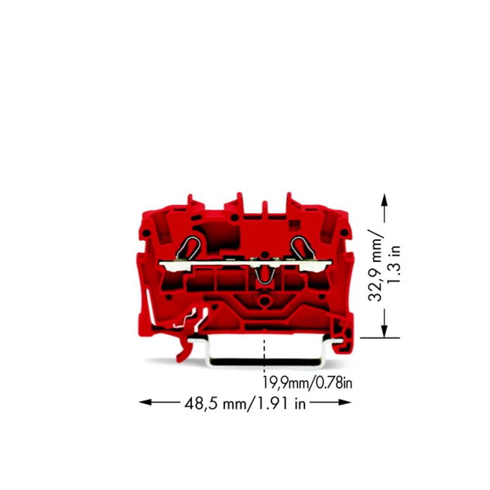 Gennemgangsklemme 5.20 mm Trækfjeder Rød WAGO 2002-1203 100 stk