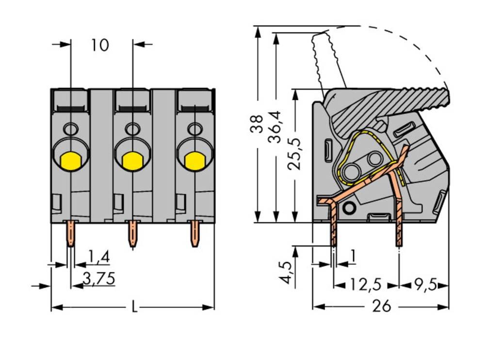 Fjederkraftsklemmeblok WAGO 6.00 mm² Poltal 12 Sort 10 stk