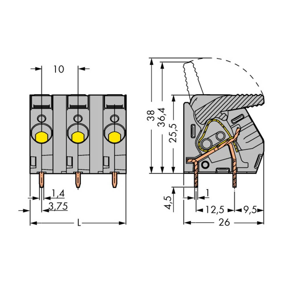 Fjederkraftsklemmeblok WAGO 6.00 mm² Poltal 8 Grå 15 stk
