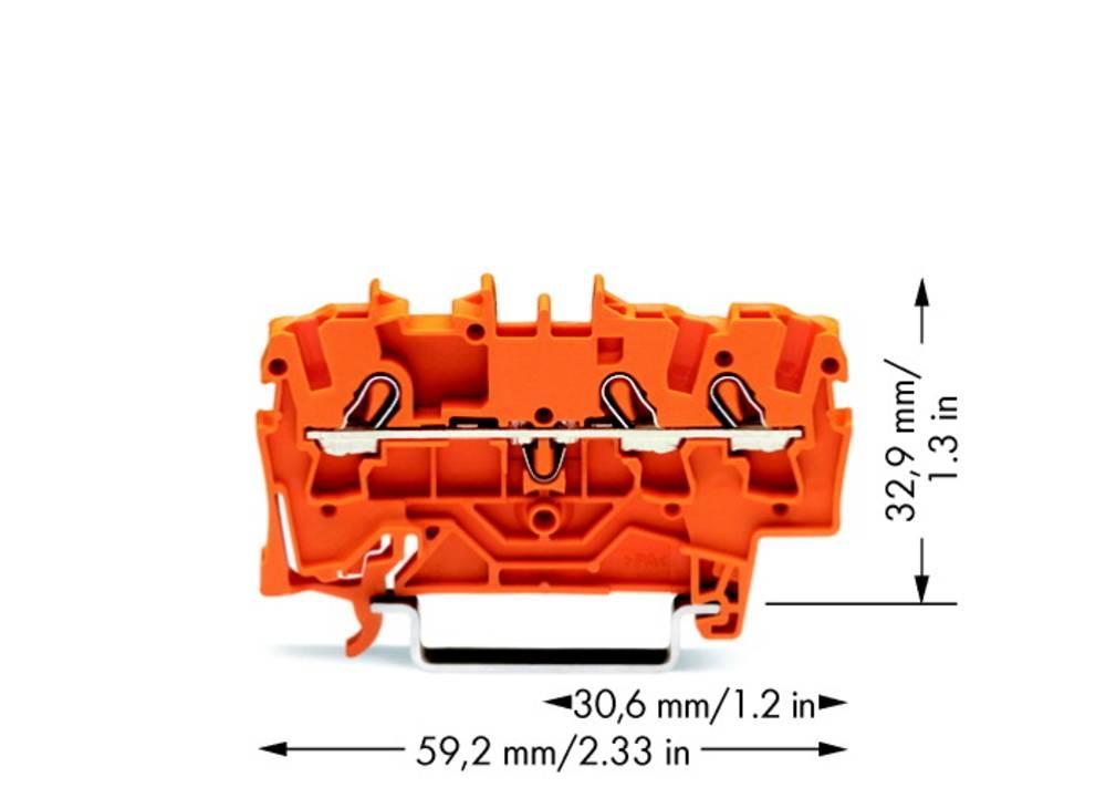 Gennemgangsklemme 5.20 mm Trækfjeder Orange WAGO 2002-1302 100 stk
