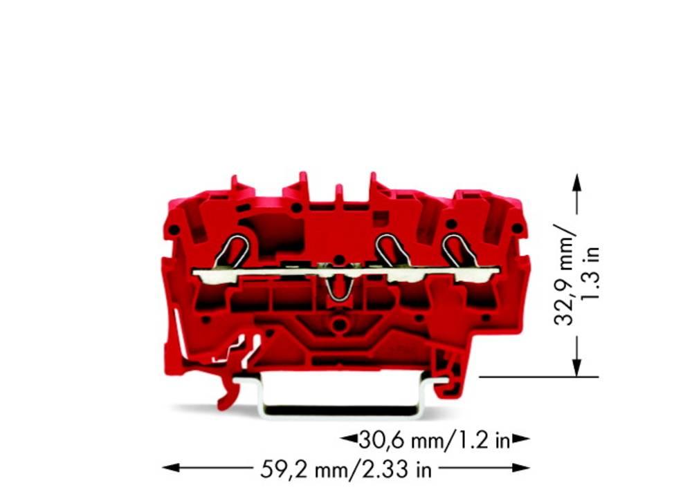 Gennemgangsklemme 5.20 mm Trækfjeder Rød WAGO 2002-1303 100 stk