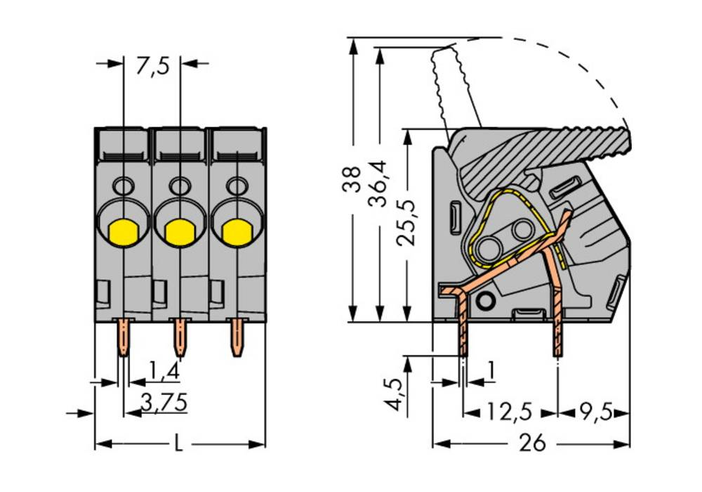 Fjederkraftsklemmeblok WAGO 6.00 mm² Poltal 4 Sort 40 stk
