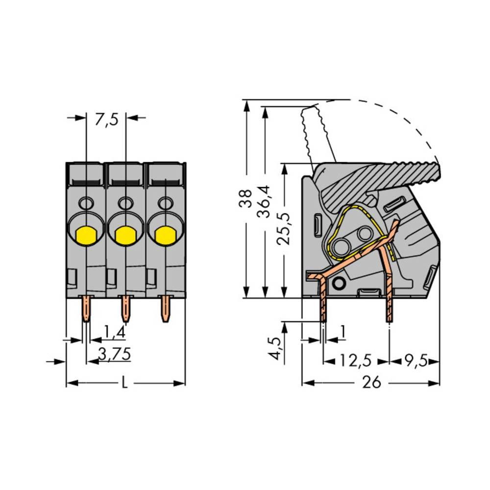 Fjederkraftsklemmeblok WAGO 6.00 mm² Poltal 6 Sort 25 stk