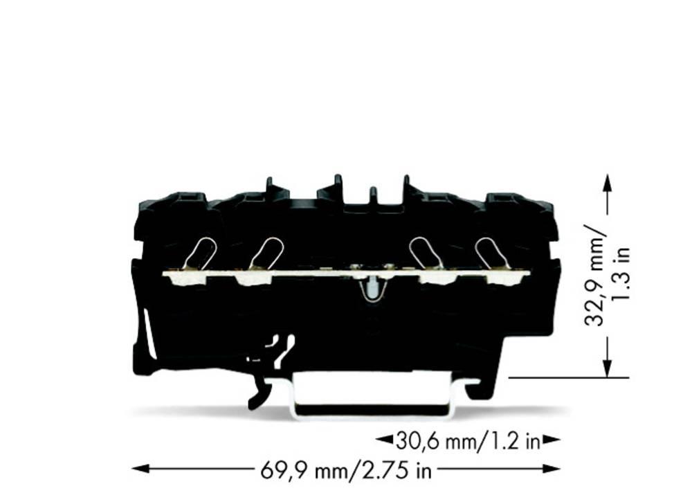 Gennemgangsklemme 5.20 mm Trækfjeder Sort WAGO 2002-1405 100 stk