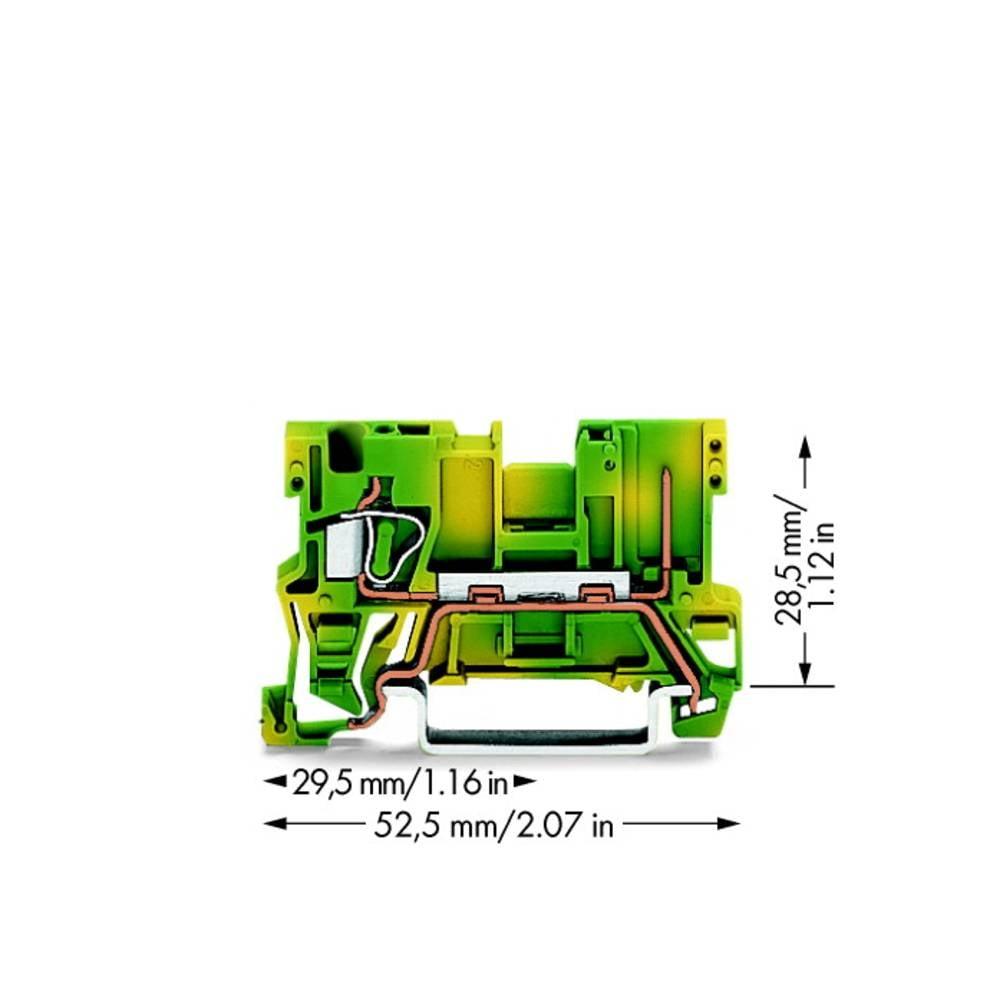 Basisklemme 5 mm Trækfjeder Belægning: Terre Grøn-gul WAGO 769-237 100 stk
