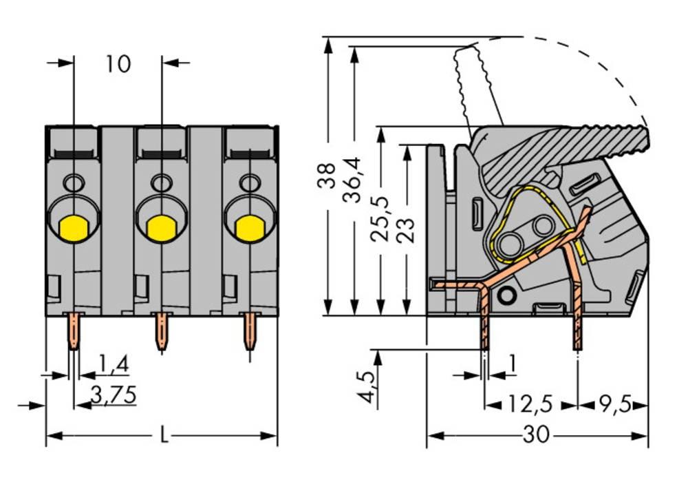Fjederkraftsklemmeblok WAGO 6.00 mm² Poltal 9 Grå 10 stk