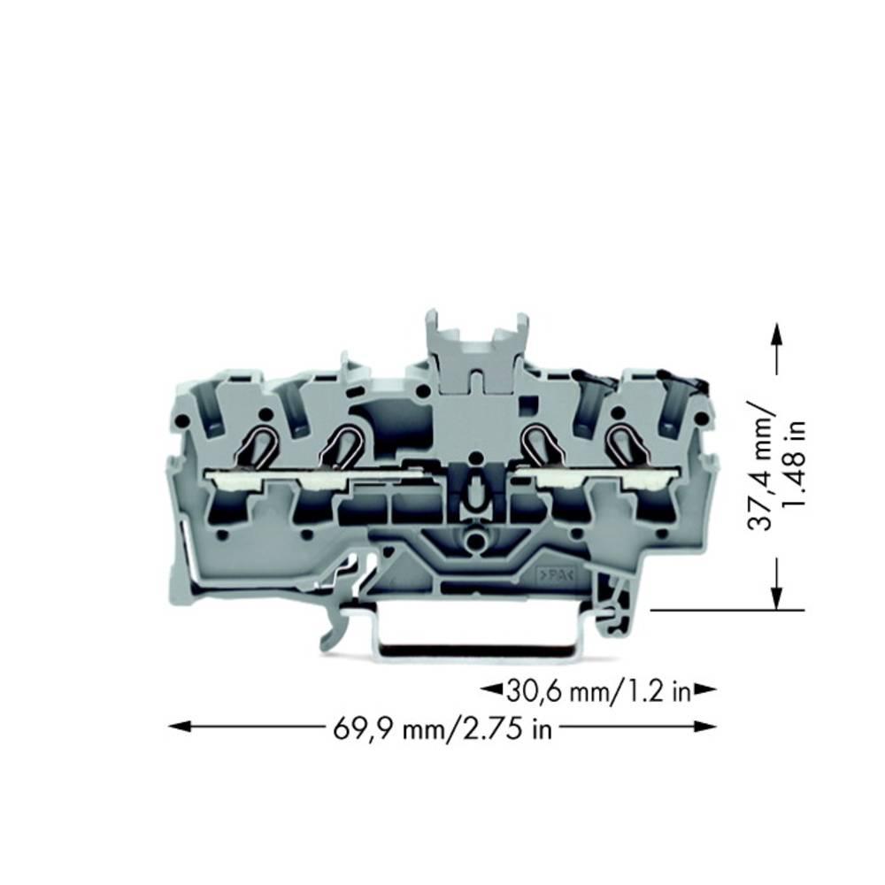 Gennemgangsklemme 5.20 mm Trækfjeder Belægning: L Grå WAGO 2002-1441 100 stk