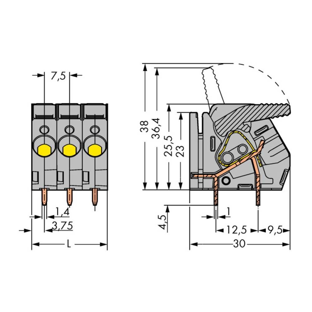 Fjederkraftsklemmeblok WAGO 6.00 mm² Poltal 11 Grå 15 stk