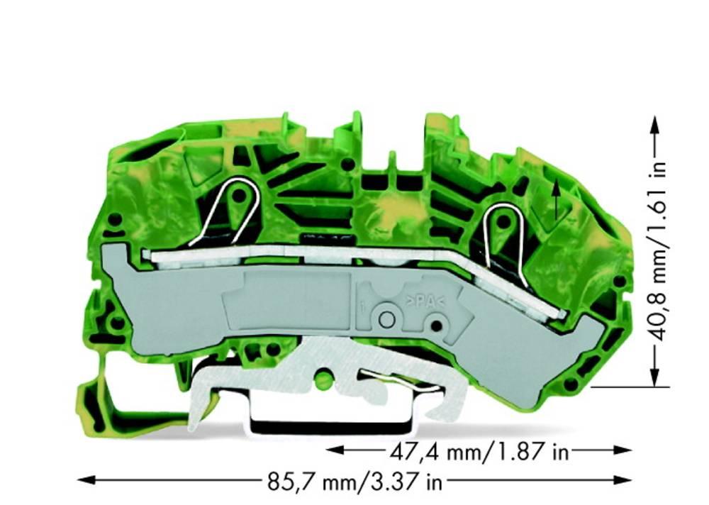 Jordklemme 12 mm Trækfjeder Belægning: Terre Grøn-gul WAGO 2016-7607 20 stk