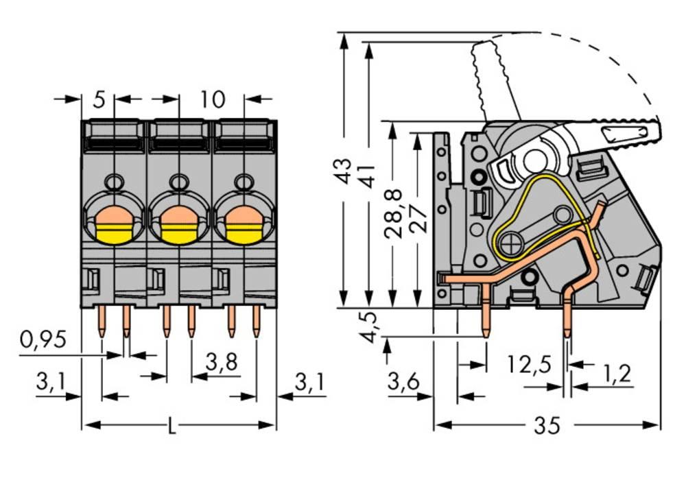 Fjederkraftsklemmeblok WAGO 6.00 mm² Poltal 8 Grå 12 stk
