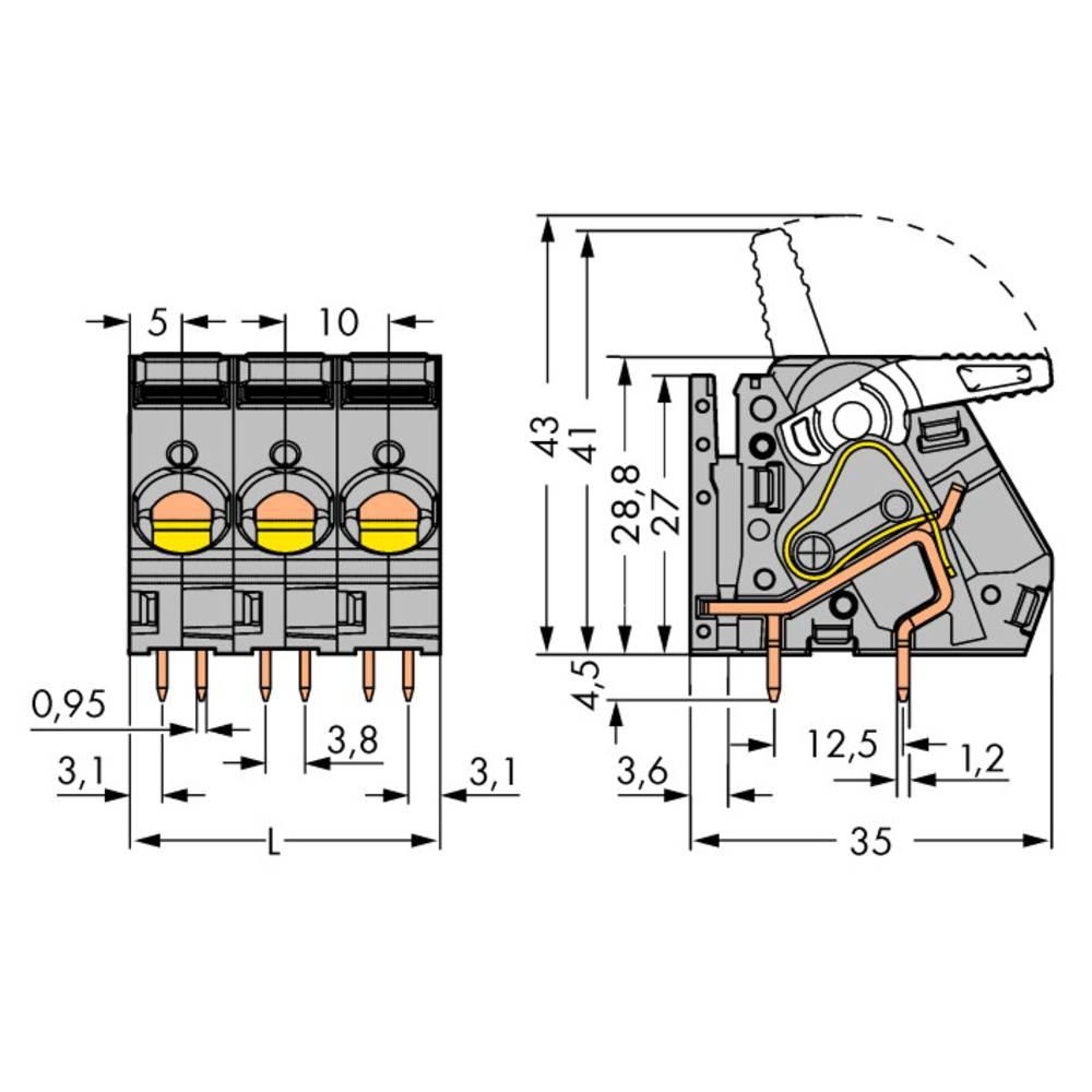 Fjederkraftsklemmeblok WAGO 6.00 mm² Poltal 3 Grå 32 stk