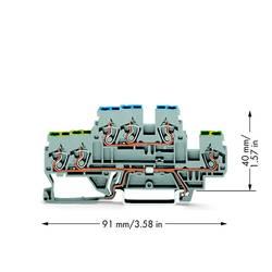 Dobbeltlags-beskyttelseslederklemme 5 mm Trækfjeder Belægning: Terre, N Grå WAGO 870-535 50 stk