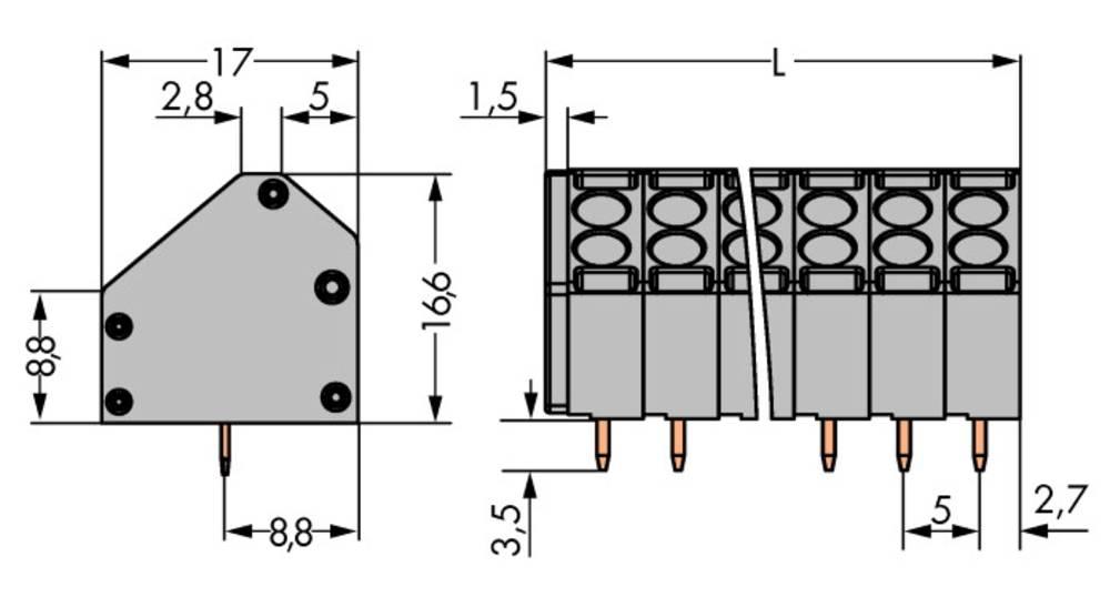 Fjederkraftsklemmeblok WAGO 1.50 mm² Poltal 7 Grå 98 stk