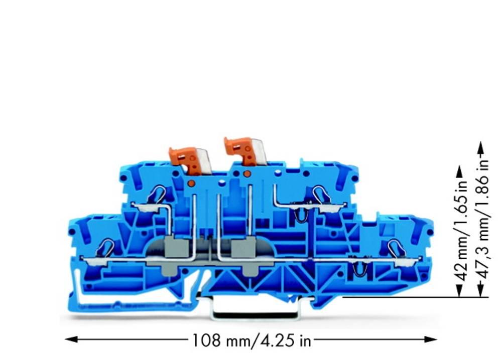 Dobbeltlags-skilleklemme 5.20 mm Trækfjeder Belægning: N, N Blå WAGO 2002-2954 50 stk