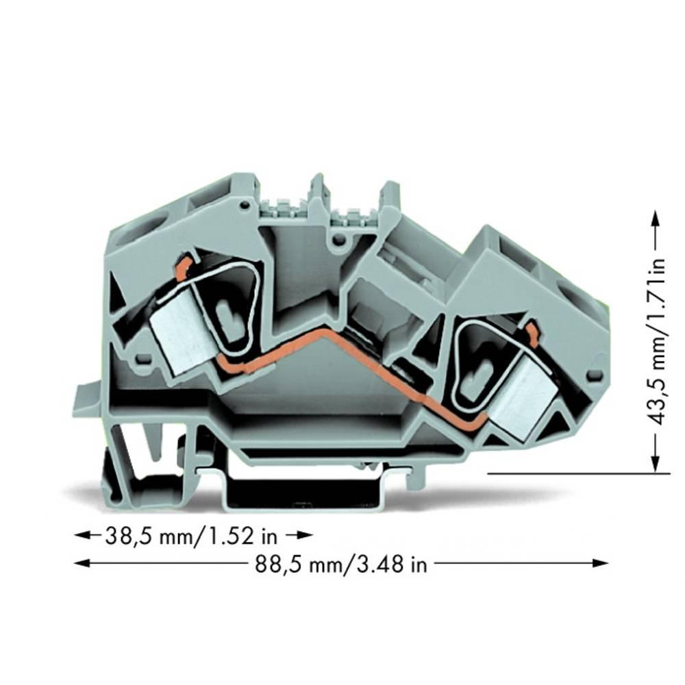 Gennemgangsklemme 12 mm Trækfjeder Belægning: L Grå WAGO 783-601 25 stk