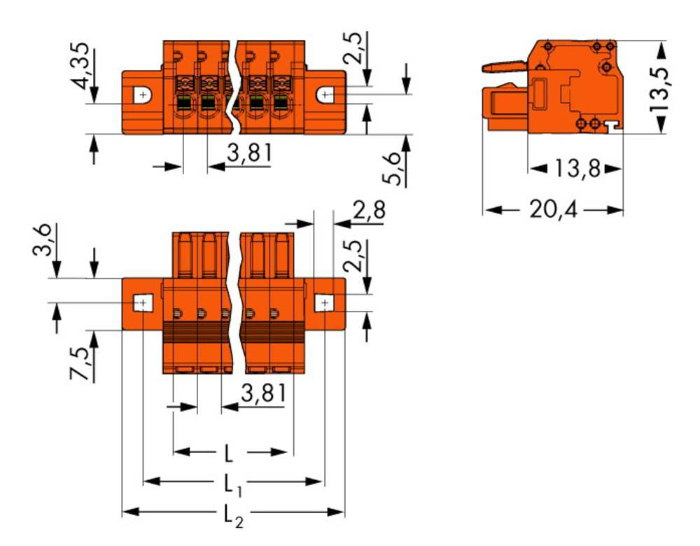 Tilslutningskabinet-kabel 2734 Samlet antal poler 5 WAGO 2734-205/031-000 Rastermål: 3.81 mm 50 stk