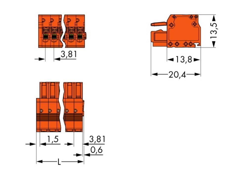 Tilslutningskabinet-kabel 2734 Samlet antal poler 16 WAGO 2734-216 Rastermål: 3.81 mm 25 stk