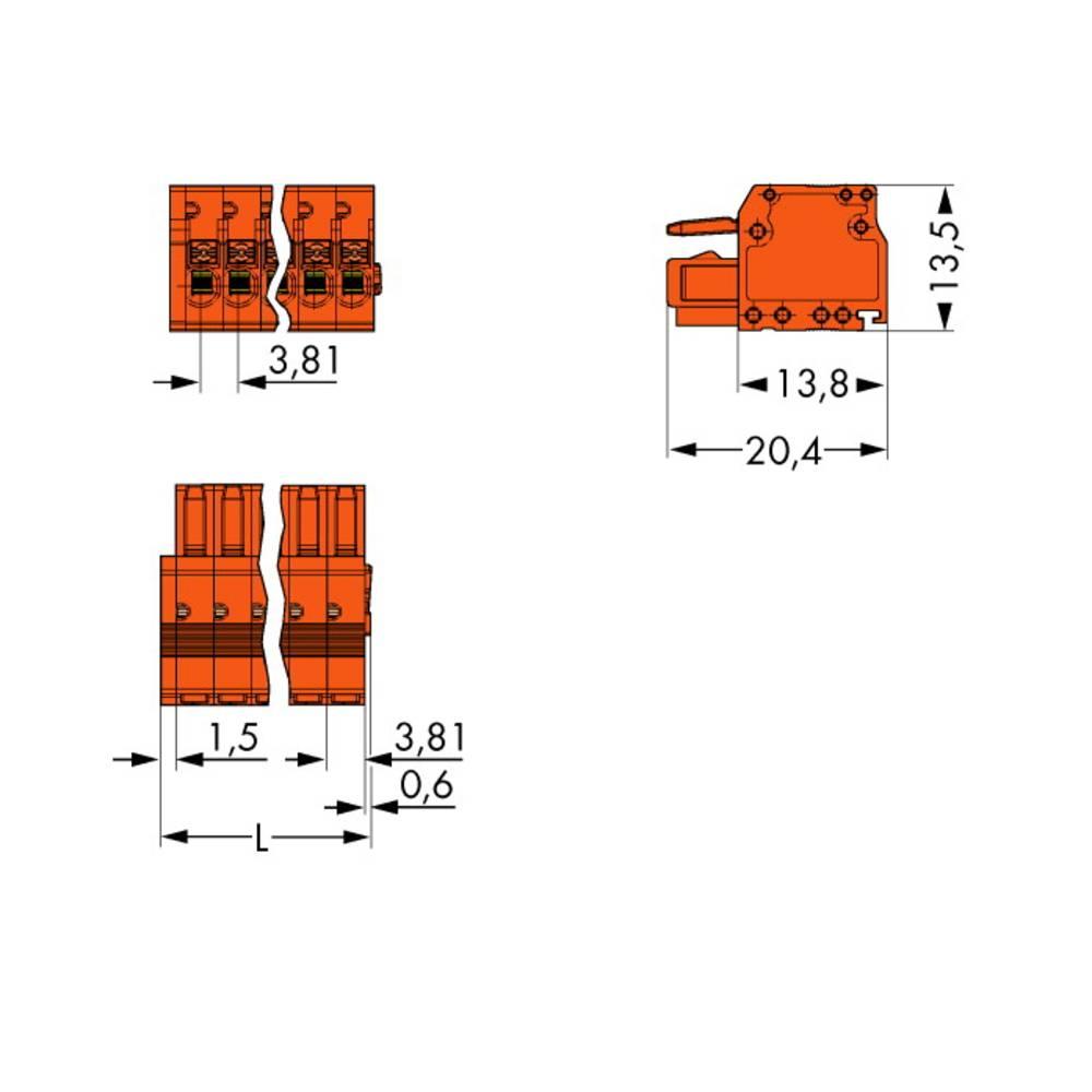 Tilslutningskabinet-kabel 2734 Samlet antal poler 4 WAGO 2734-204 Rastermål: 3.81 mm 100 stk