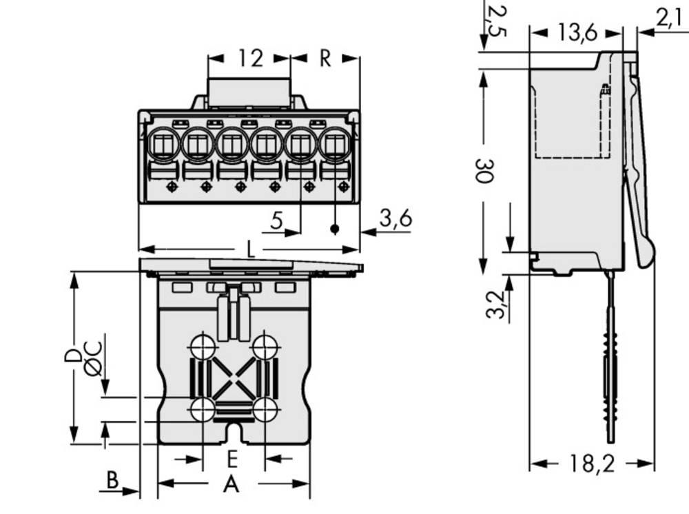 Stiftkabinet-printplade 2092 Samlet antal poler 3 WAGO 2092-1503/002-000 Rastermål: 5 mm 100 stk