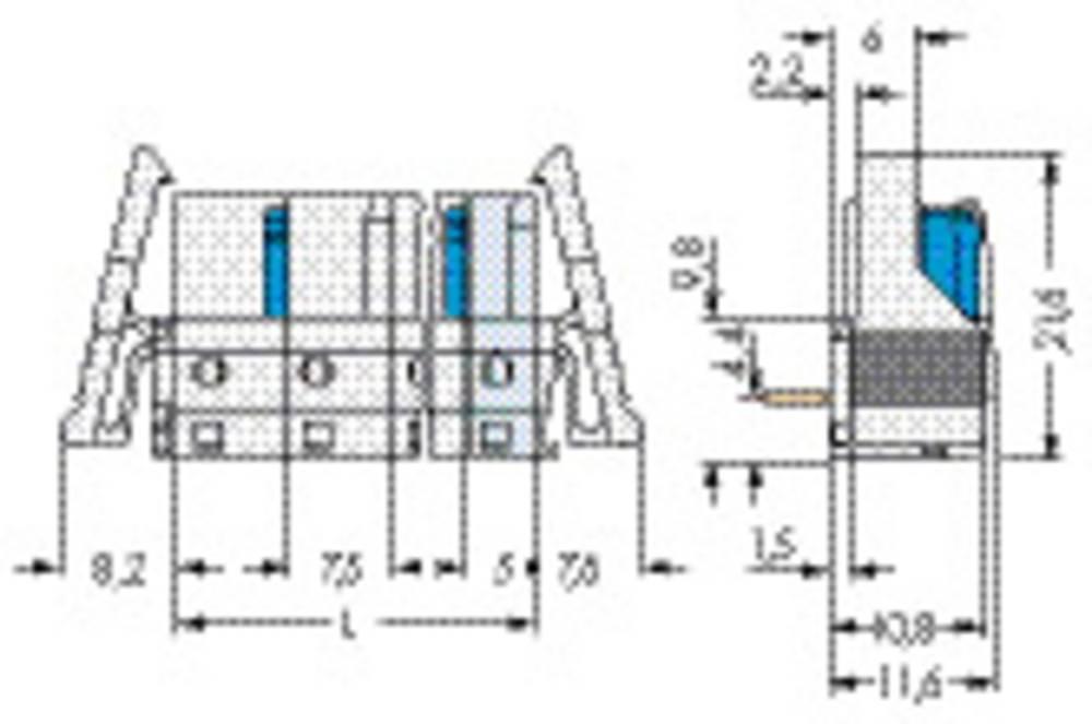 Tilslutningskabinet-printplade 722 Samlet antal poler 1 WAGO 722-842/005-000/039-000 25 stk