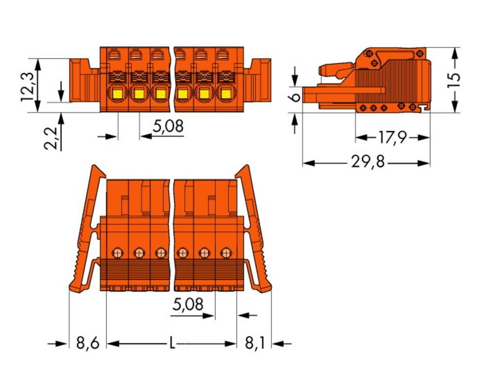 Tilslutningskabinet-kabel 2231 Samlet antal poler 8 WAGO 2231-308/037-000 Rastermål: 5.08 mm 25 stk