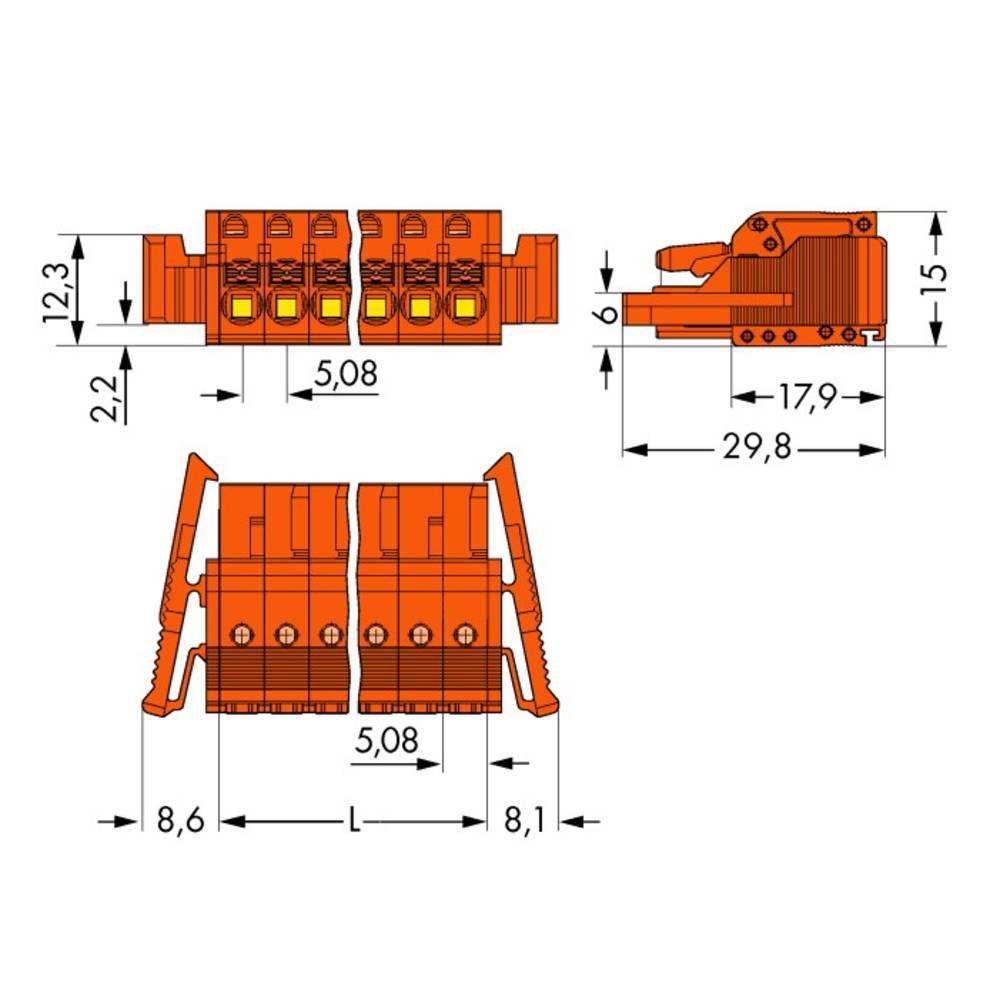 Tilslutningskabinet-kabel 2231 Samlet antal poler 18 WAGO 2231-318/037-000 Rastermål: 5.08 mm 10 stk