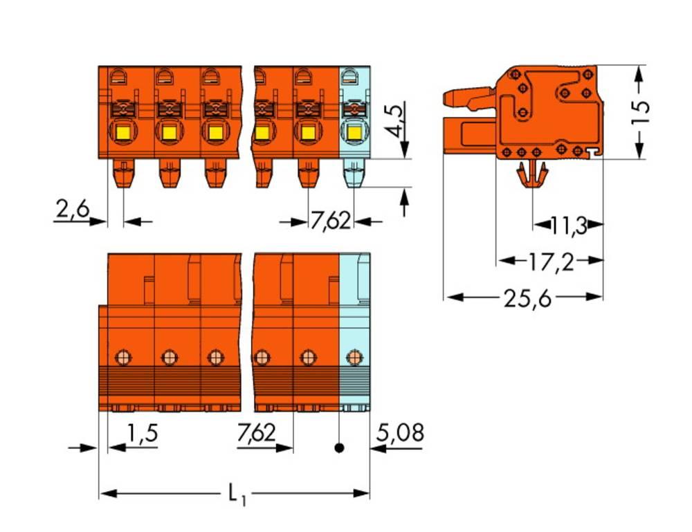 Tilslutningskabinet-kabel 2231 Samlet antal poler 11 WAGO 2231-711/008-000 Rastermål: 7.62 mm 25 stk