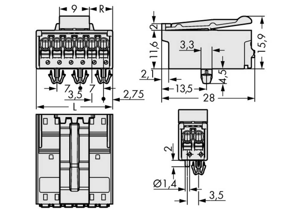 Stiftkabinet-printplade 2091 Samlet antal poler 4 WAGO 2091-1524/020-000 Rastermål: 3.50 mm 200 stk