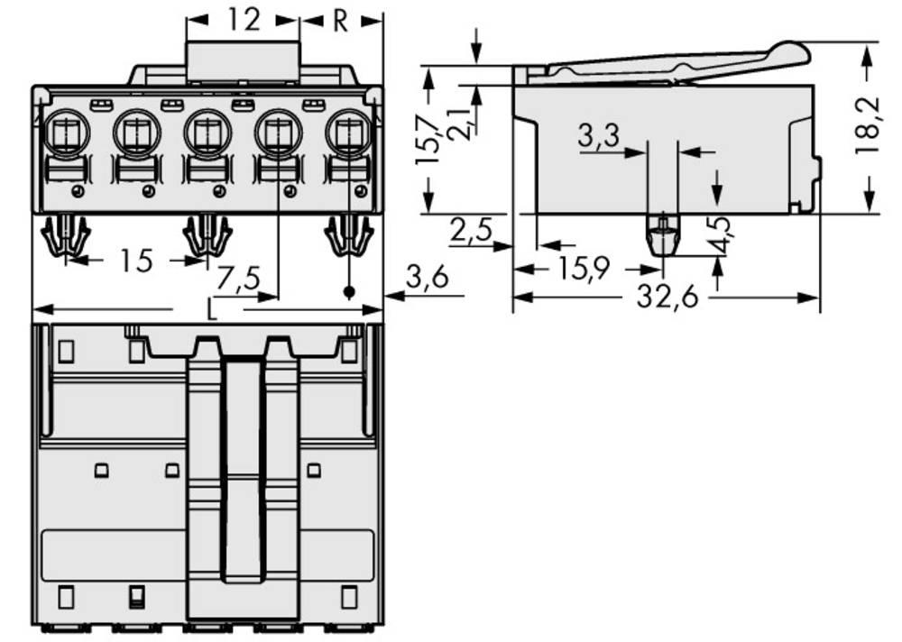 Stiftkabinet-printplade 2092 Samlet antal poler 5 WAGO 2092-3525/020-000 Rastermål: 7.50 mm 50 stk