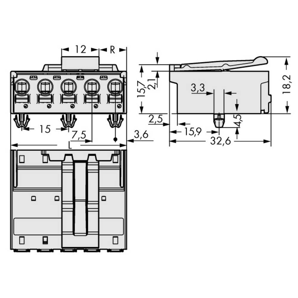 Stiftkabinet-printplade 2092 Samlet antal poler 4 WAGO 2092-3524/020-000 Rastermål: 7.50 mm 50 stk