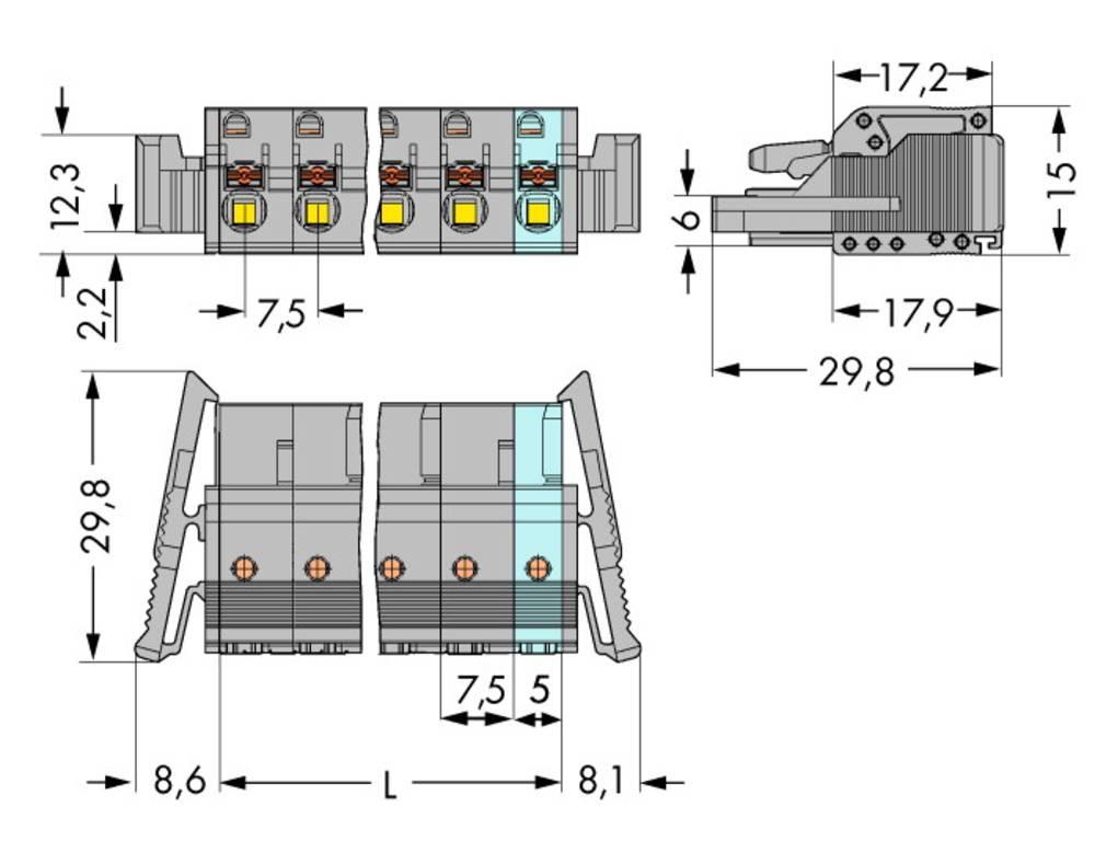 Tilslutningskabinet-kabel 2231 Samlet antal poler 9 WAGO 2231-209/037-000 Rastermål: 7.50 mm 25 stk