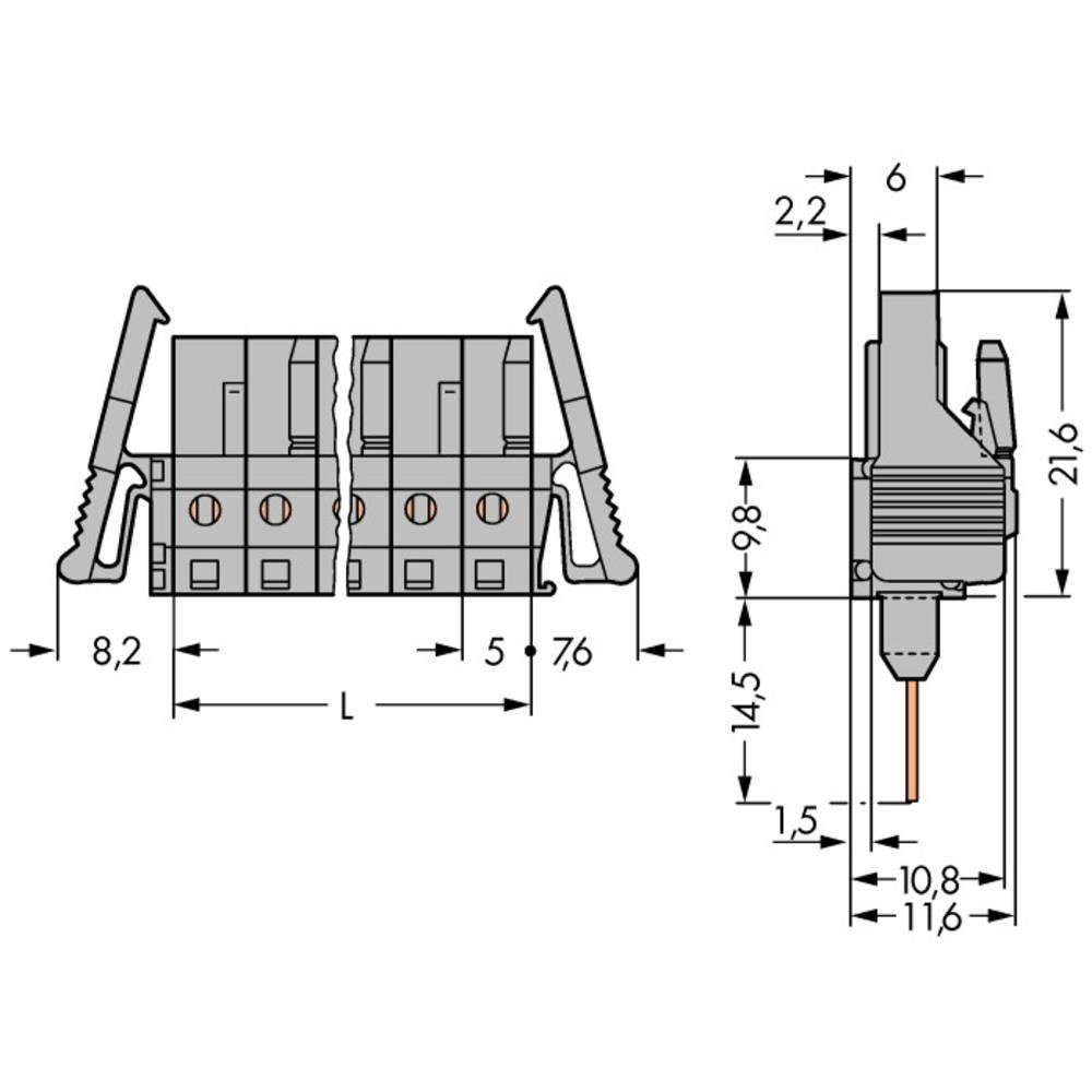 Tilslutningskabinet-printplade 232 Samlet antal poler 8 WAGO 232-138/005-000/025-000 Rastermål: 5 mm 50 stk