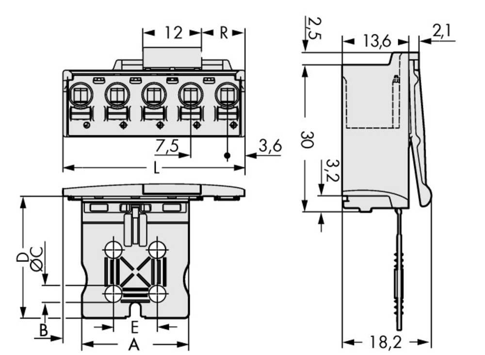 Stiftkabinet-printplade 2092 Samlet antal poler 4 WAGO 2092-3504/002-000 Rastermål: 7.50 mm 50 stk