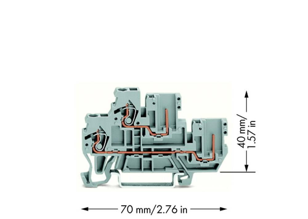 Dobbeltlags-basisklemme 5 mm Trækfjeder Belægning: L Grå WAGO 870-101 50 stk
