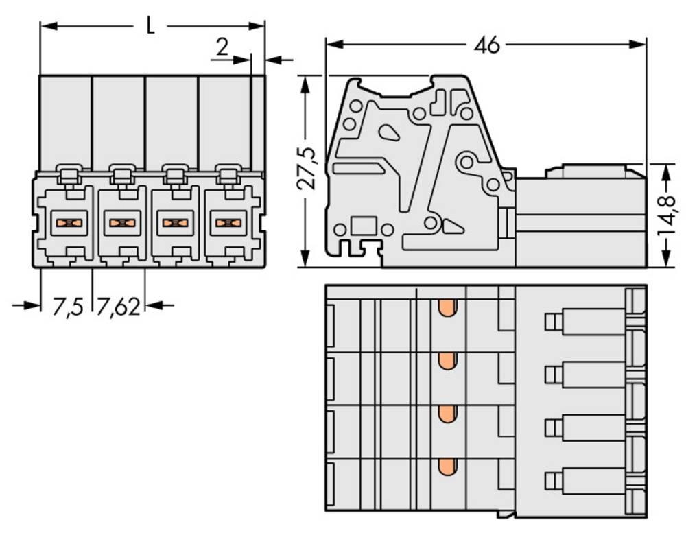 Tilslutningskabinet-kabel 831 Samlet antal poler 3 WAGO 831-3203 Rastermål: 7.62 mm 24 stk