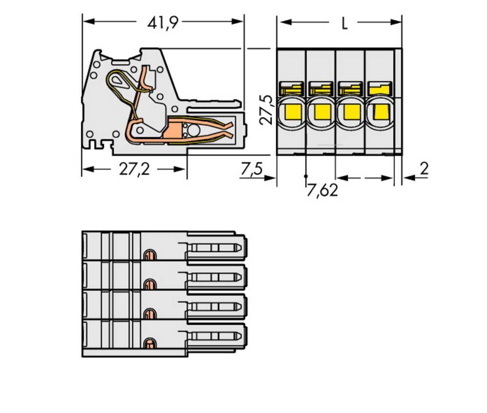 Tilslutningskabinet-kabel 831 Samlet antal poler 5 WAGO 831-3105 Rastermål: 7.62 mm 24 stk