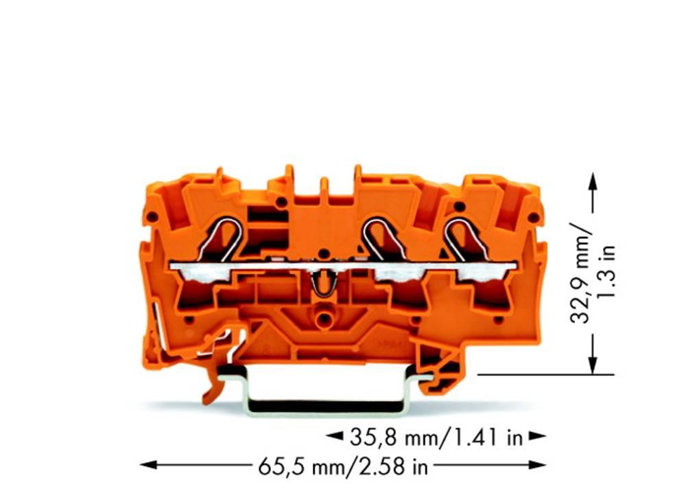 Gennemgangsklemme 6.20 mm Trækfjeder Orange WAGO 2004-1302 50 stk