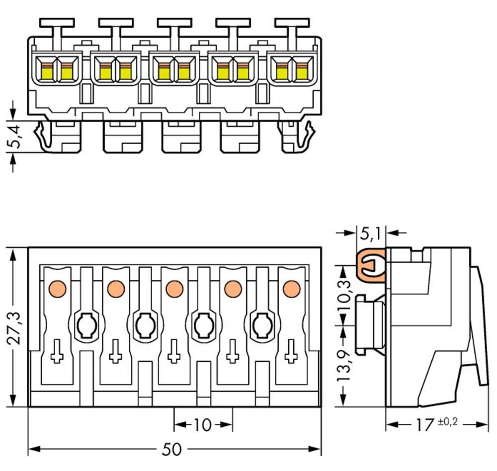 Omrežna priključna sponka, toga: 0.5-2.5 mm št. polov: 5 WAGO 294-8115 250 kos bela
