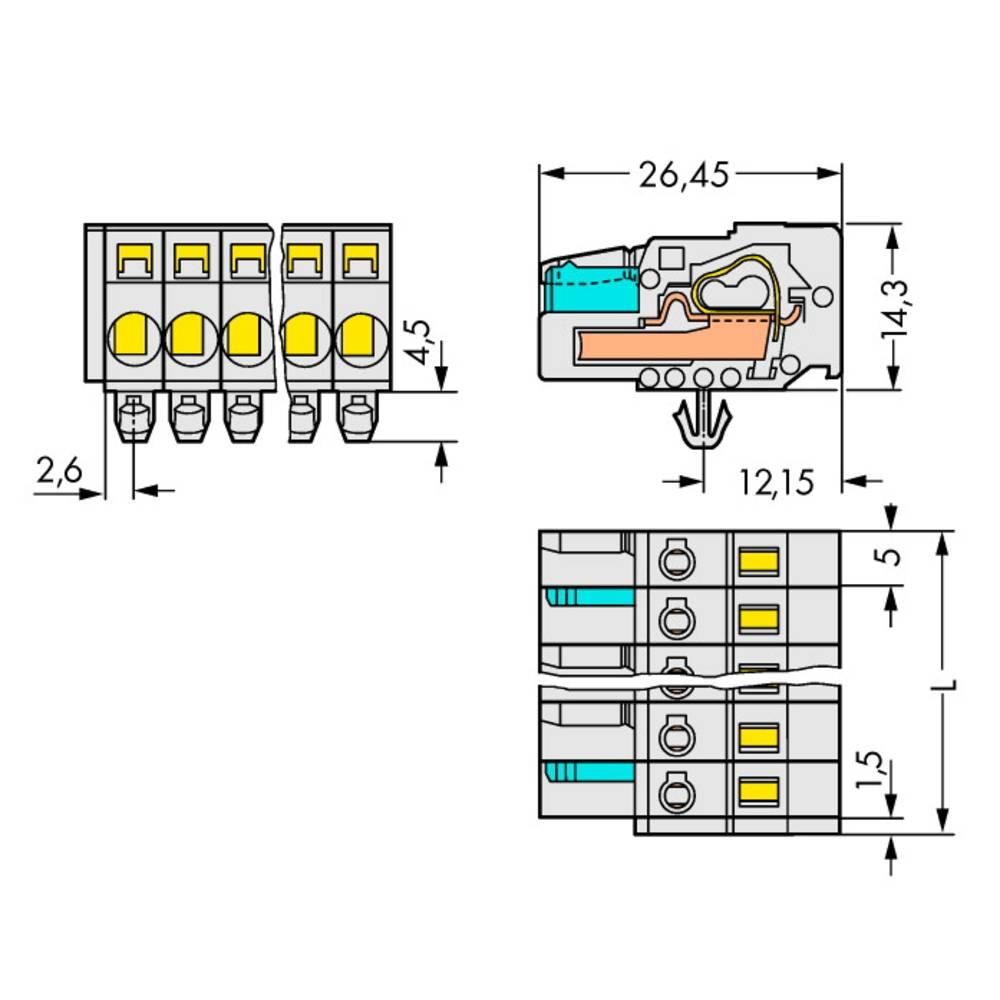 Multistikfatning 721-112/008-000/037-000 Samlet poltal 12 Antal rækker 1 WAGO 25 stk