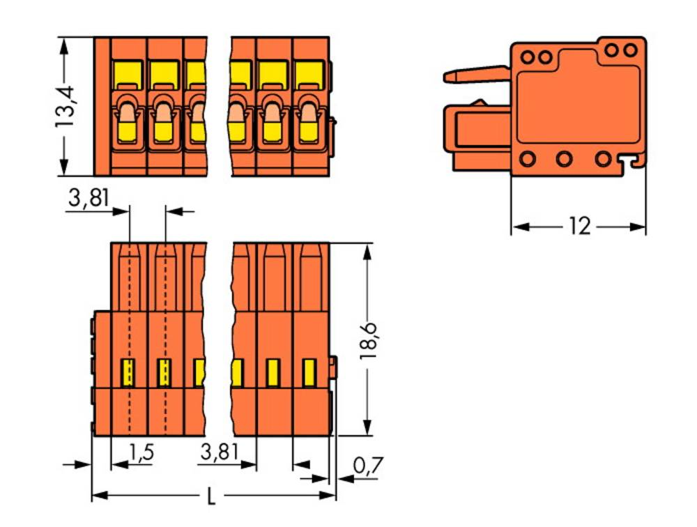 Tilslutningskabinet-kabel 734 Samlet antal poler 19 WAGO 734-219 Rastermål: 3.81 mm 25 stk