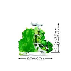 Dobbeltlags-beskyttelseslederklemme 6.20 mm Trækfjeder Belægning: Terre Grøn-gul WAGO 2002-2237/099-000 50 stk